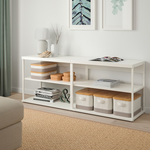PLATSA Open shelving unit, white, 160x40x63 cm