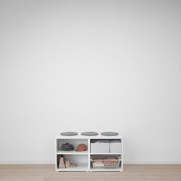 PLATSA Storage bench, white/Sannidal white, 120x57x63 cm