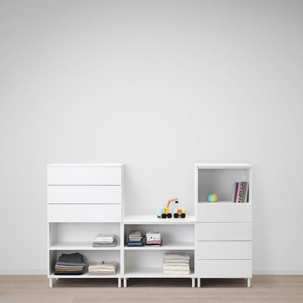 PLATSA Storage combination, white/Fonnes white, 220x42x133 cm
