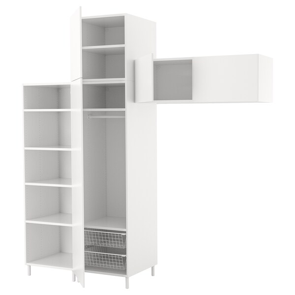 PLATSA Wardrobe, white/Fonnes white, 240x57x251 cm