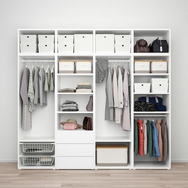 PLATSA Wardrobe with 7 doors+3 drawers, white/Sannidal Ridabu, 240x57x221 cm