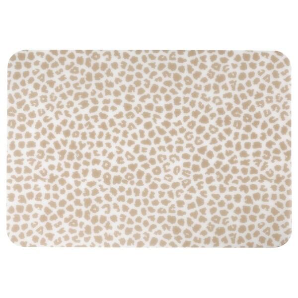 PLUGGHÄST Desk pad, patterned beige/transparent, 65x45 cm