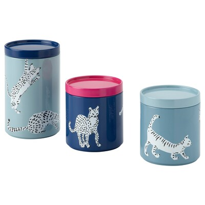 PLUGGHÄST Storage tin with lid, set of 3, cat/multicolour