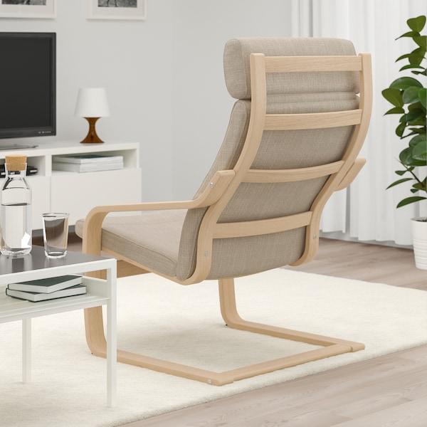 POÄNG Armchair, white stained oak veneer/Hillared beige