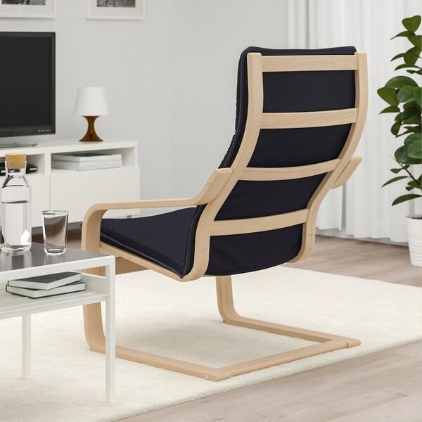 POÄNG Armchair, white stained oak veneer/Knisa black