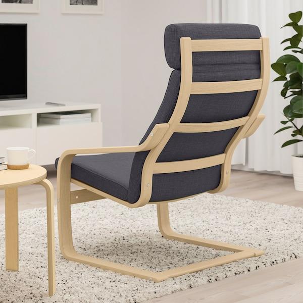 POÄNG Armchair, white stained oak veneer/Skiftebo dark grey
