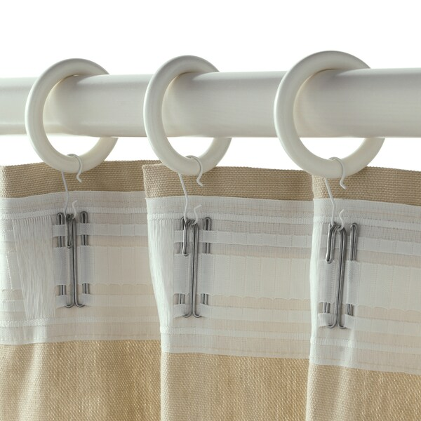 PORTION curtain ring with clip and hook white stained 47 mm 3 kg 10 pieces