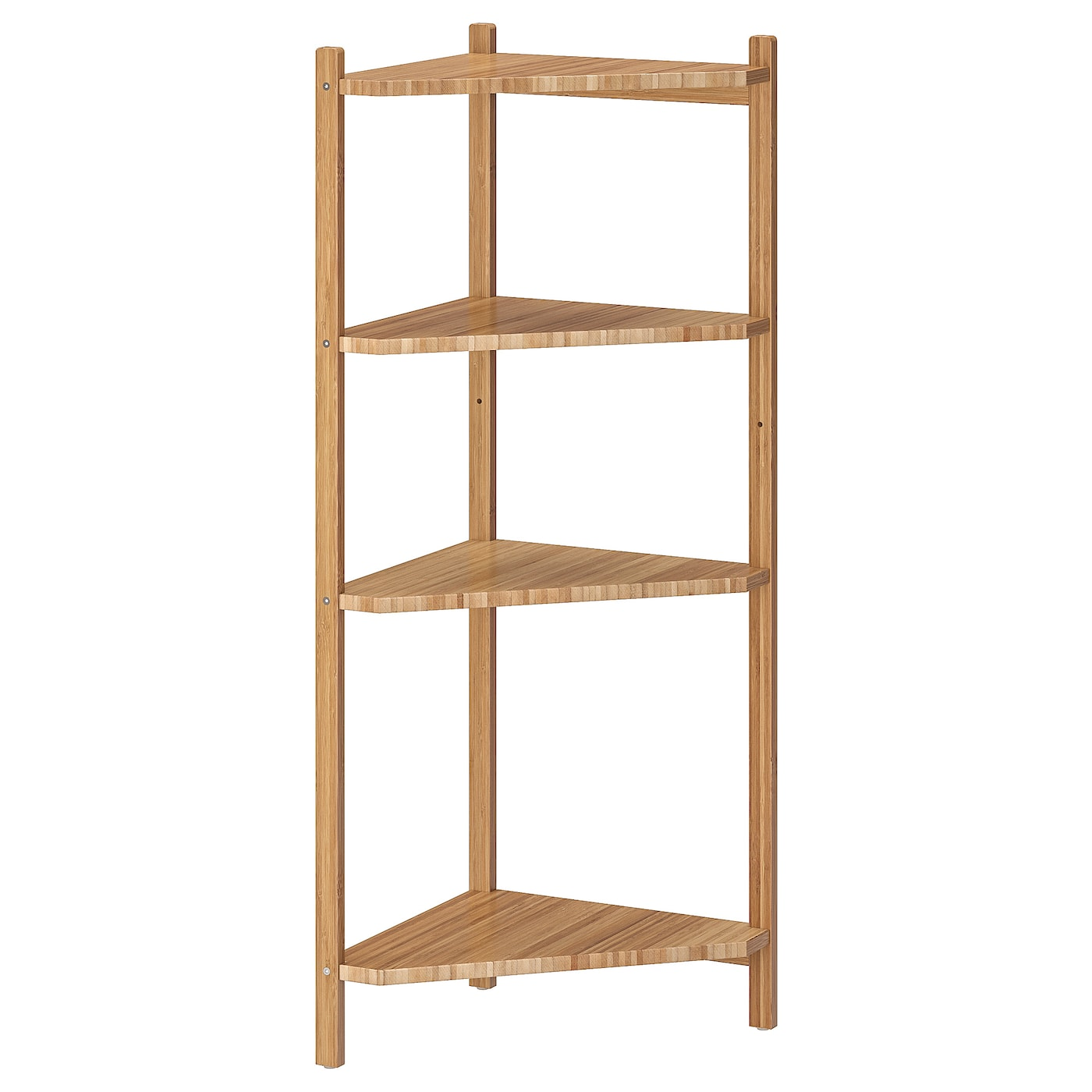 RÅGRUND Corner shelf unit - bamboo 7x7 cm