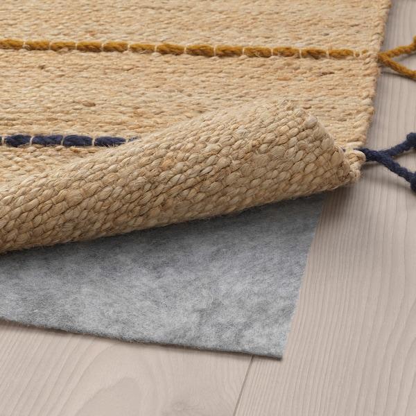 RAKLEV rug, flatwoven handmade natural/multicolour 160 cm 70 cm 7 mm 1.12 m² 2400 g/m²