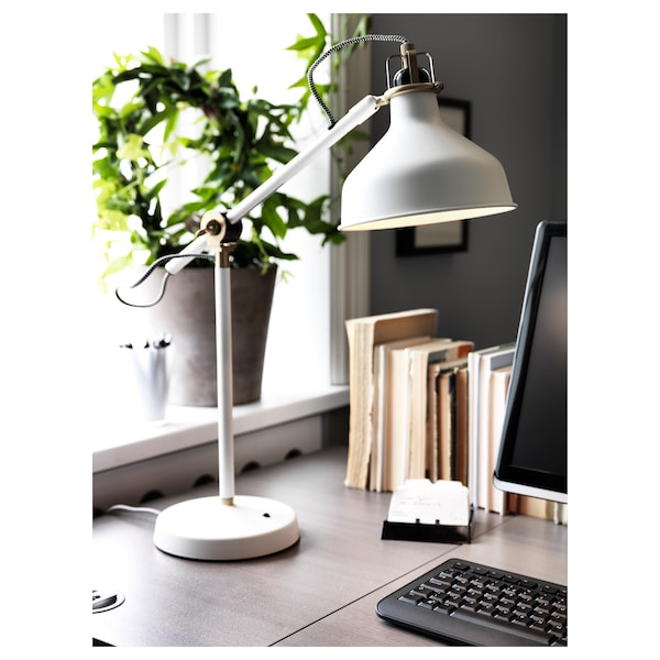 RANARP مصباح مكتب, أبيض-مطفي