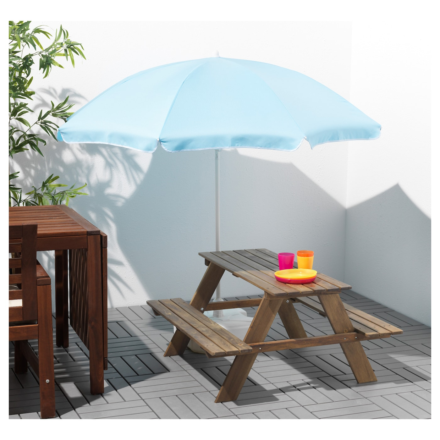 Picnic Table Grey Brown Stained