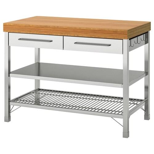 RIMFORSA work bench stainless steel/bamboo 120 cm 63.5 cm 92 cm 90 cm 94 cm