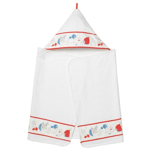 RÖDHAKE baby towel with hood rabbits/blueberries pattern 125 cm 60 cm