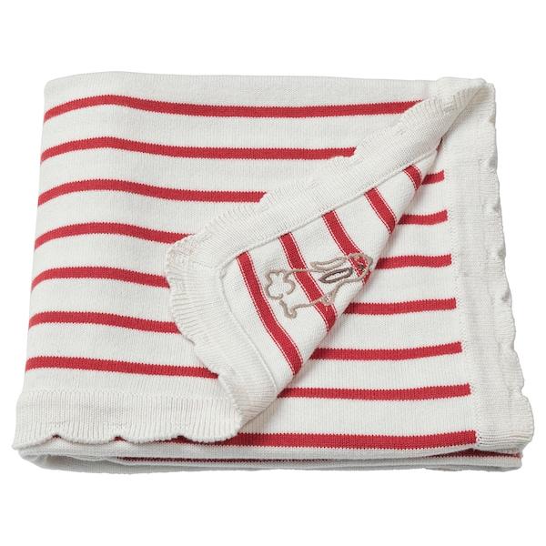 RÖDHAKE blanket striped/white/red 100 cm 80 cm