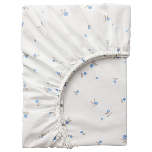 RÖDHAKE fitted sheet for cot white/blueberry patterned 120 cm 60 cm