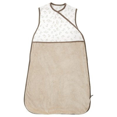 RÖDHAKE Sleeping bag, beige/rabbit pattern, 0-6
