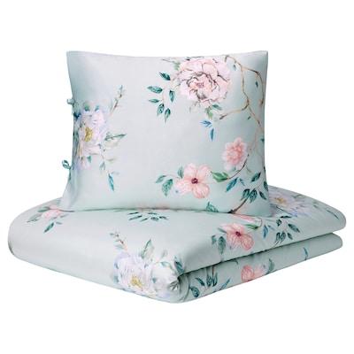 RÖJLE Duvet cover and 2 pillowcases, multicolour/floral pattern, 240x220/50x60 cm