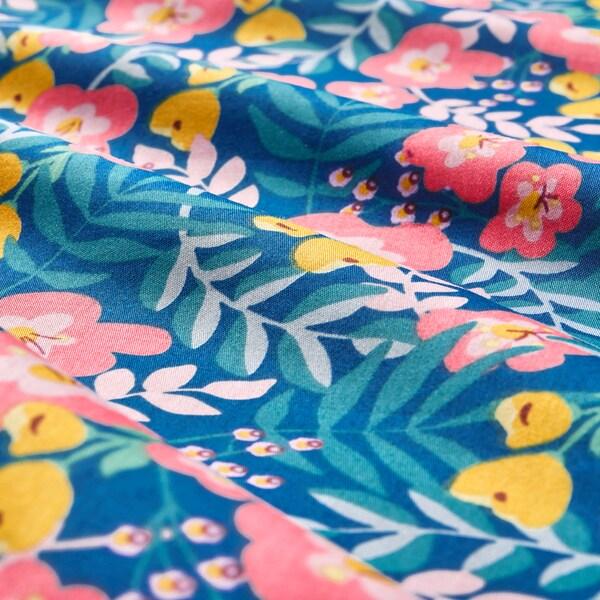 RÖRANDE 3-piece bedlinen set for cot flower patterned/blue pink 60 cm 120 cm 125 cm 110 cm 55 cm 35 cm 60 cm 120 cm