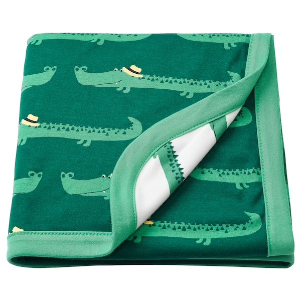 RÖRANDE blanket crocodile/green 100 cm 80 cm