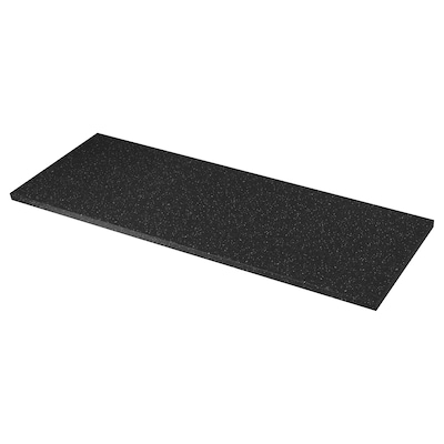SÄLJAN سطح عمل, أسود التأثير المعدني/صفائح رقيقة, 186x3.8 سم