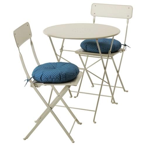 SALTHOLMEN table+2 folding chairs, outdoor beige/Ytterön blue