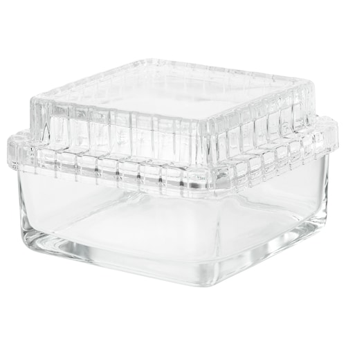 SAMMANHANG glass box with lid clear glass 13 cm 13 cm 8 cm