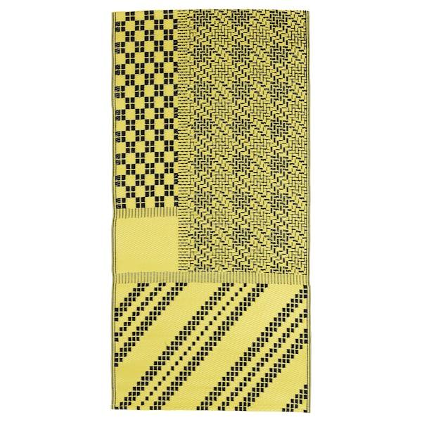 SAMMANKOPPLA سجاد، غزل مسطح, أصفر/أسود, 75x150 سم