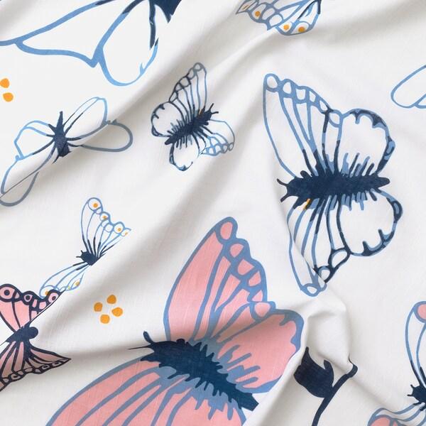 SÅNGLÄRKA ستائر مع رباط، 1 زوج, الفراشة/أبيض أزرق, 120x300 سم