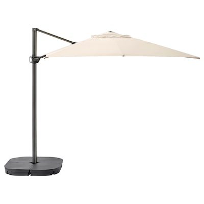 SEGLARÖ / SVARTÖ Parasol, hanging with base, tilting beige/dark grey, 330x240 cm