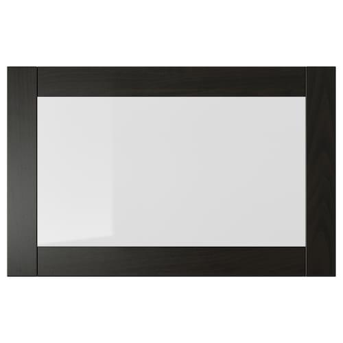 SINDVIK glass door black-brown/clear glass 60 cm 38 cm