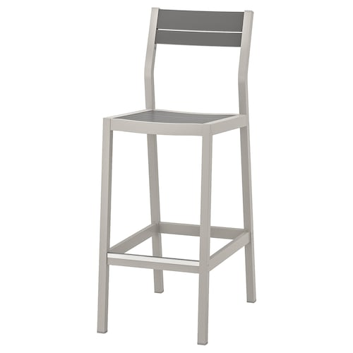SJÄLLAND bar stool with backrest, outdoor light grey/dark grey 110 kg 40 cm 56 cm 110 cm 40 cm 39 cm 74 cm