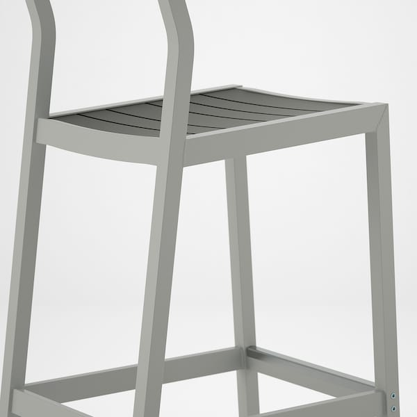 SJÄLLAND Bar stool with backrest, outdoor, light grey/dark grey