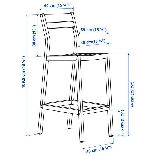SJÄLLAND Bar stool with backrest, outdoor, light grey/light brown