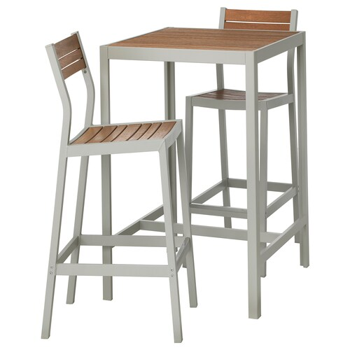 SJÄLLAND bar table and 2 bar stools, outdoor light brown/light grey 71 cm 71 cm 103 cm