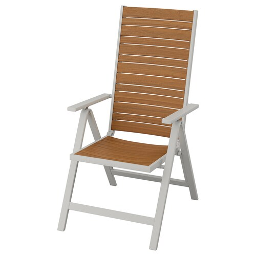 SJÄLLAND reclining chair, outdoor light grey foldable/light brown 110 kg 57 cm 75 cm 110 cm 45 cm 43 cm 42 cm