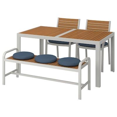 SJÄLLAND Table+2 chairs+ bench, outdoor, light brown/Frösön/Duvholmen blue, 156x90 cm