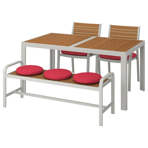 SJÄLLAND table+2 chairs+ bench, outdoor light brown/Frösön/Duvholmen red 156 cm 90 cm 73 cm