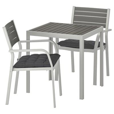 SJÄLLAND طاولة وكرسيين، للمساحات الخارجية, رمادي غامق/Hållö أسود, 71x71x73 سم