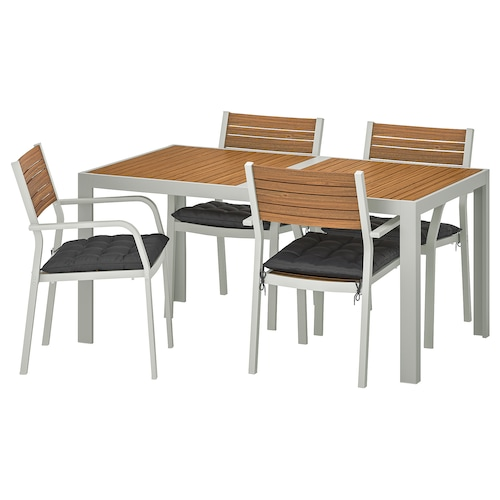 SJÄLLAND table+4 chairs w armrests, outdoor light brown/Hållö black 156 cm 90 cm 73 cm