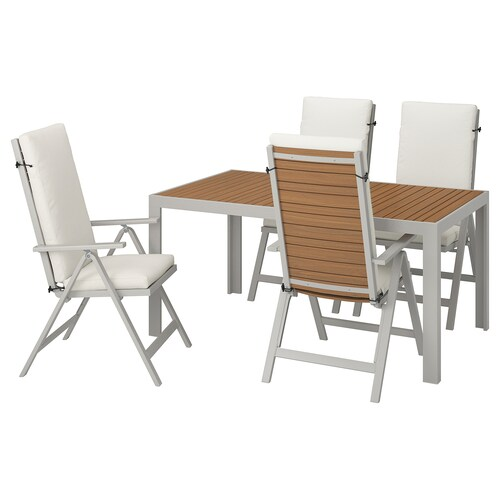 SJÄLLAND table+4 reclining chairs, outdoor light brown/Frösön/Duvholmen beige 156 cm 90 cm 73 cm
