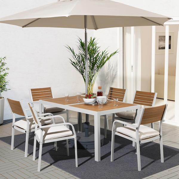 SJÄLLAND table+6 chairs w armrests, outdoor light brown/Frösön/Duvholmen beige 156 cm 90 cm 73 cm