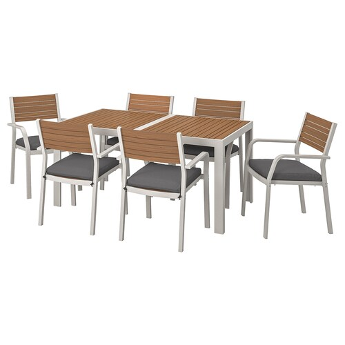 SJÄLLAND table+6 chairs w armrests, outdoor light brown/Frösön/Duvholmen dark grey 156 cm 90 cm 73 cm