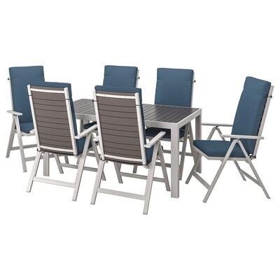 SJÄLLAND Table+6 reclining chairs, outdoor, dark grey/Frösön/Duvholmen blue, 156x90 cm