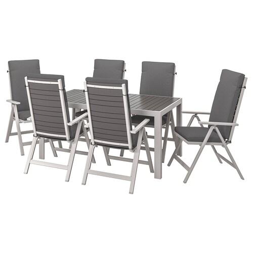 SJÄLLAND table+6 reclining chairs, outdoor dark grey/Frösön/Duvholmen dark grey 156 cm 90 cm 73 cm