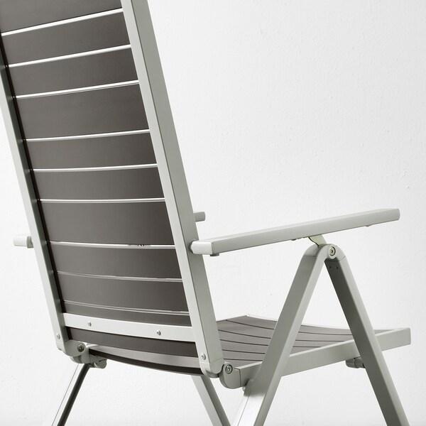 SJÄLLAND Table+6 reclining chairs, outdoor, dark grey/Kuddarna grey, 156x90 cm