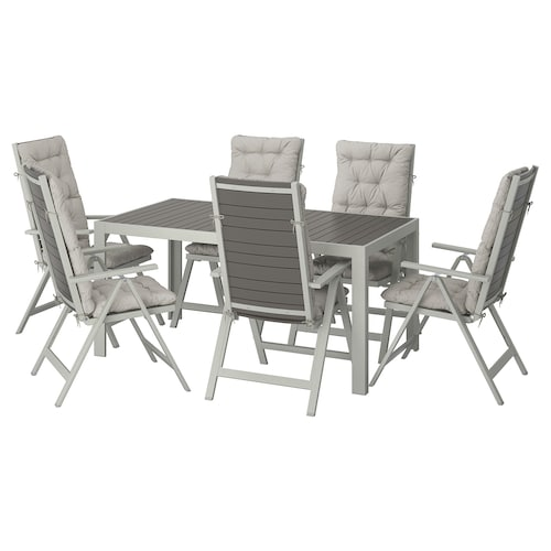 SJÄLLAND table+6 reclining chairs, outdoor dark grey/Kuddarna grey 156 cm 90 cm 73 cm