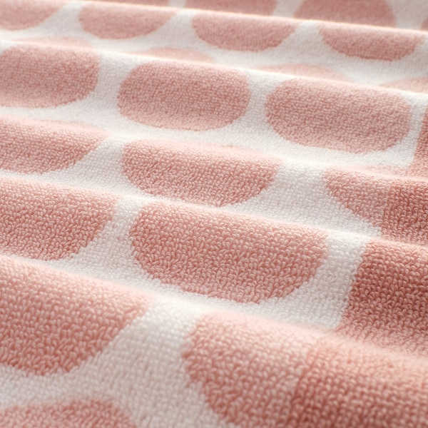 SJÖVALLA Hand towel, light pink/white, 50x100 cm