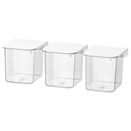 SKÅDIS container with lid white 7 cm 8.5 cm 8 cm 3 pieces