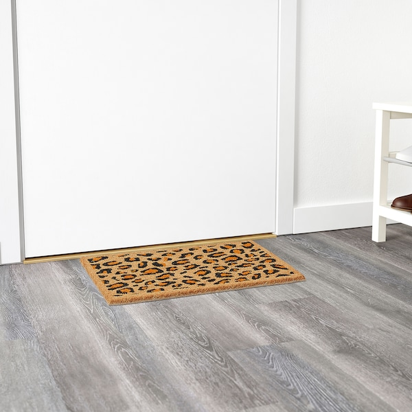 SKIBET door mat leopard black/orange 60 cm 40 cm 15 mm 0.24 m² 6350 g/m²
