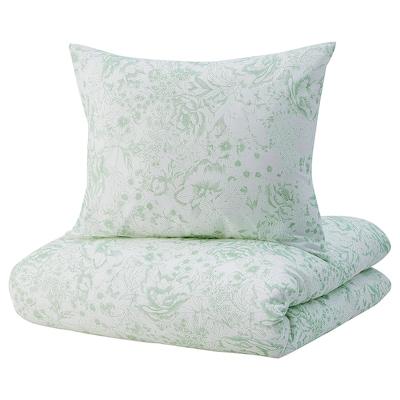 SKOGSSTARR غطاء لحاف/وسادة, أخضر, 150x200/50x60 سم